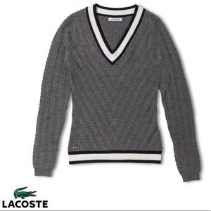 Lacoste V-neck Cable Knit Wool Gray Sweater